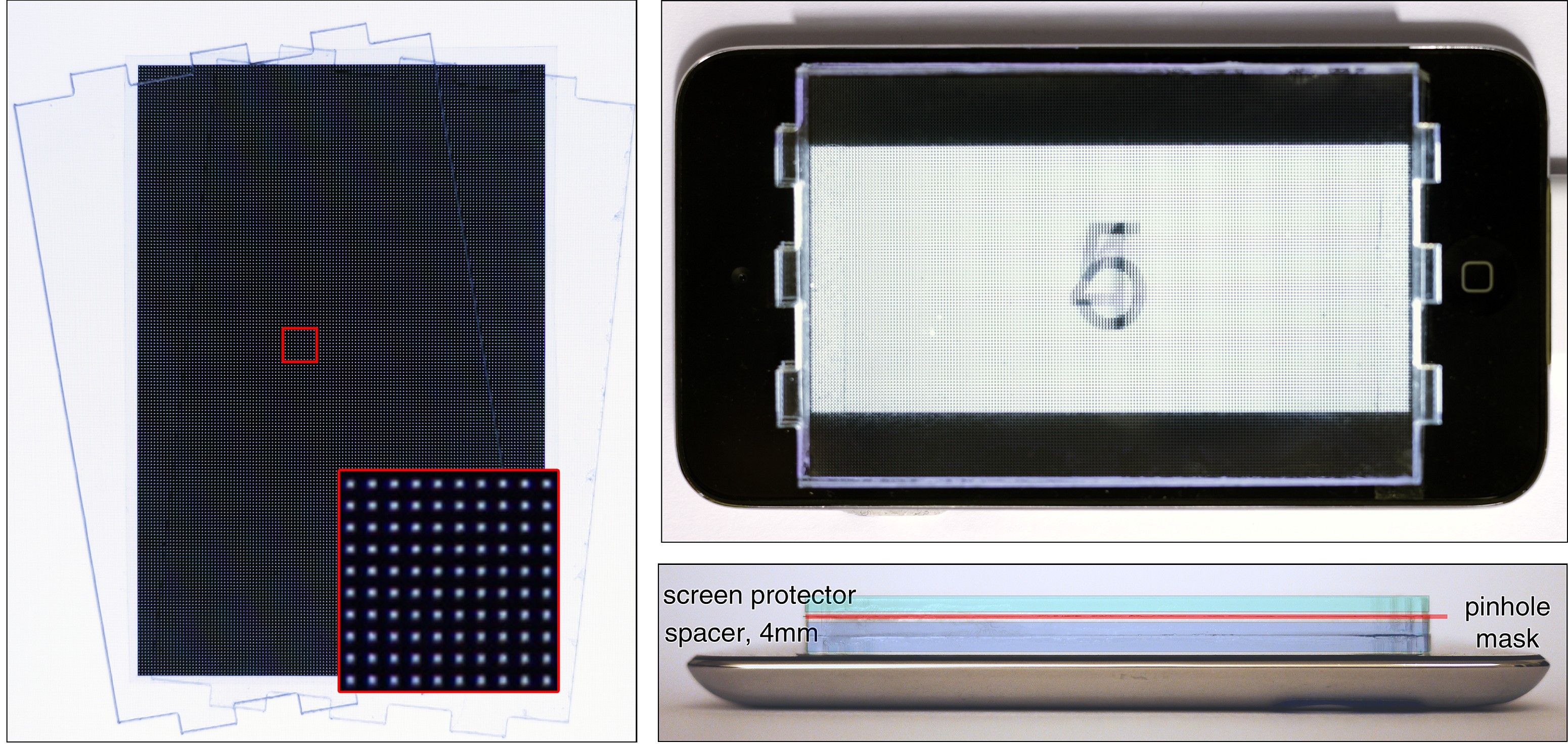 Prototype display. We construct an aberration-correcting display using parallax barriers. The barrier mask contains a pinhole array (left) that is mounted at a slight offset in front of an Apple iPod touch 4 screen (lower right). The display emits a light field with a high-enough angular resolution so that at least two views enter the pupil of a human observer. This effect is illustrated on the top right: multiple Arabic numerals are emitted in different viewing directions; the finite pupil size then creates an average of multiple different views on the retina (here simulated with a camera).